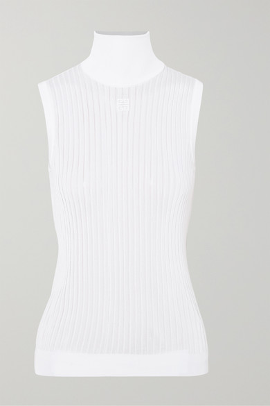 Givenchy Tops Embroidered ribbed knitted turtleneck top