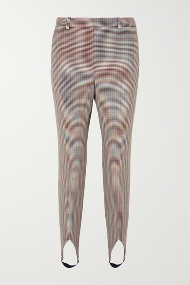 High-Rise Checked Wool Tapered Stirrup Pants in Brown