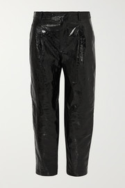 Glossed textured-leather straight-leg pants