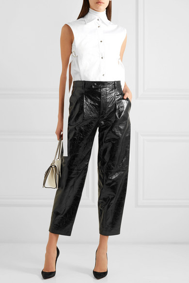 Givenchy Pants Glossed textured-leather straight-leg pants