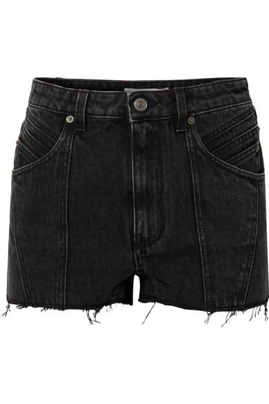 GIVENCHY | Givenchy - Paneled Frayed Denim Shorts - Black | Goxip