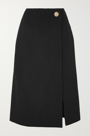 Givenchy Wrap-effect grain de poudre wool skirt