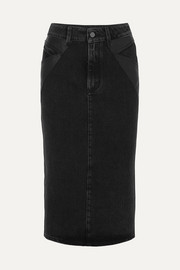 Givenchy Leather-paneled denim midi skirt