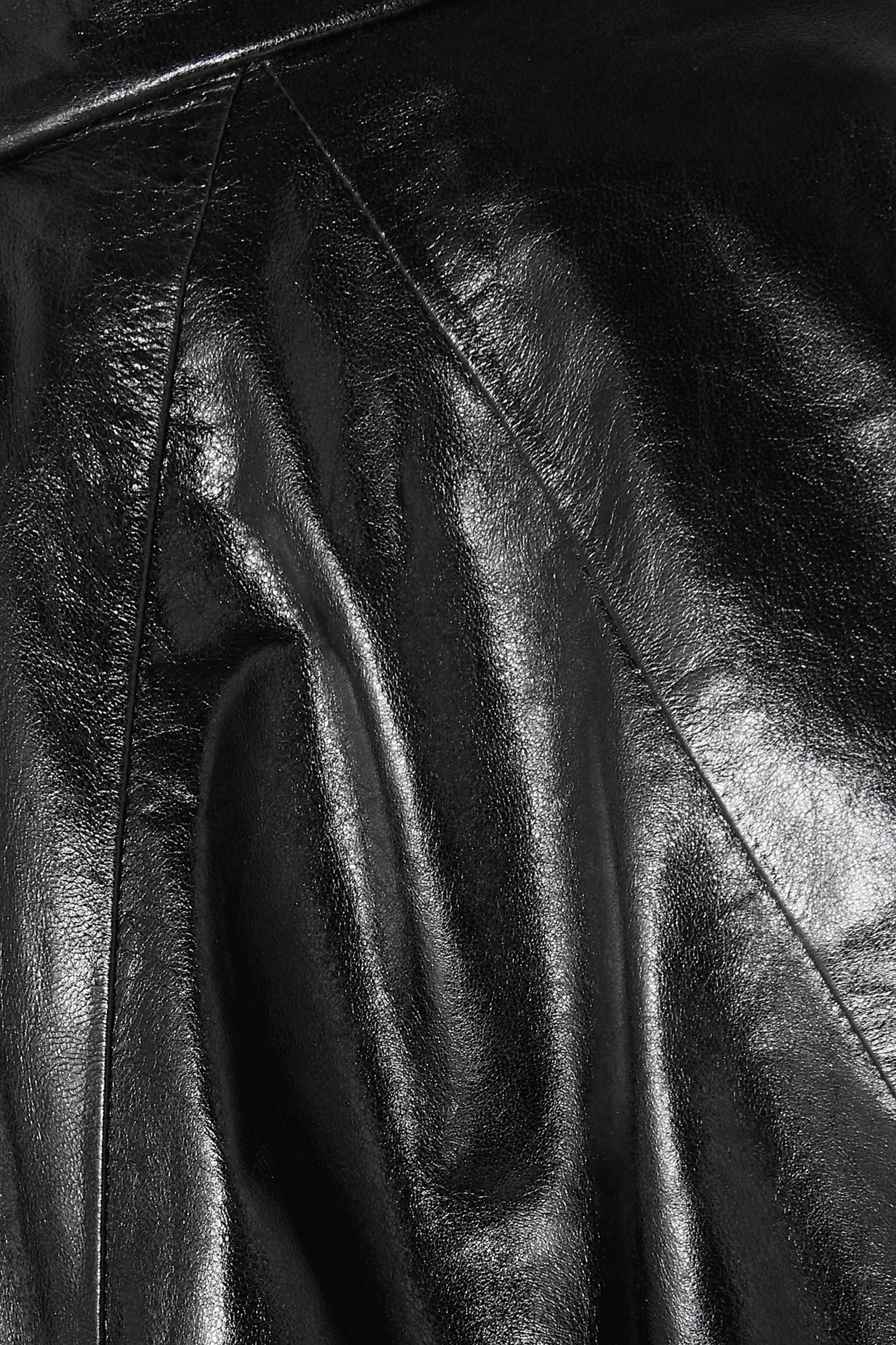 Givenchy Glossed-leather and ribbed wool-blend track top