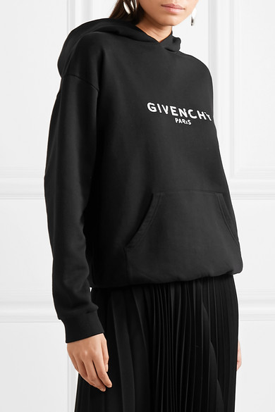 Givenchy Tops Distressed printed cotton-jersey hoodie