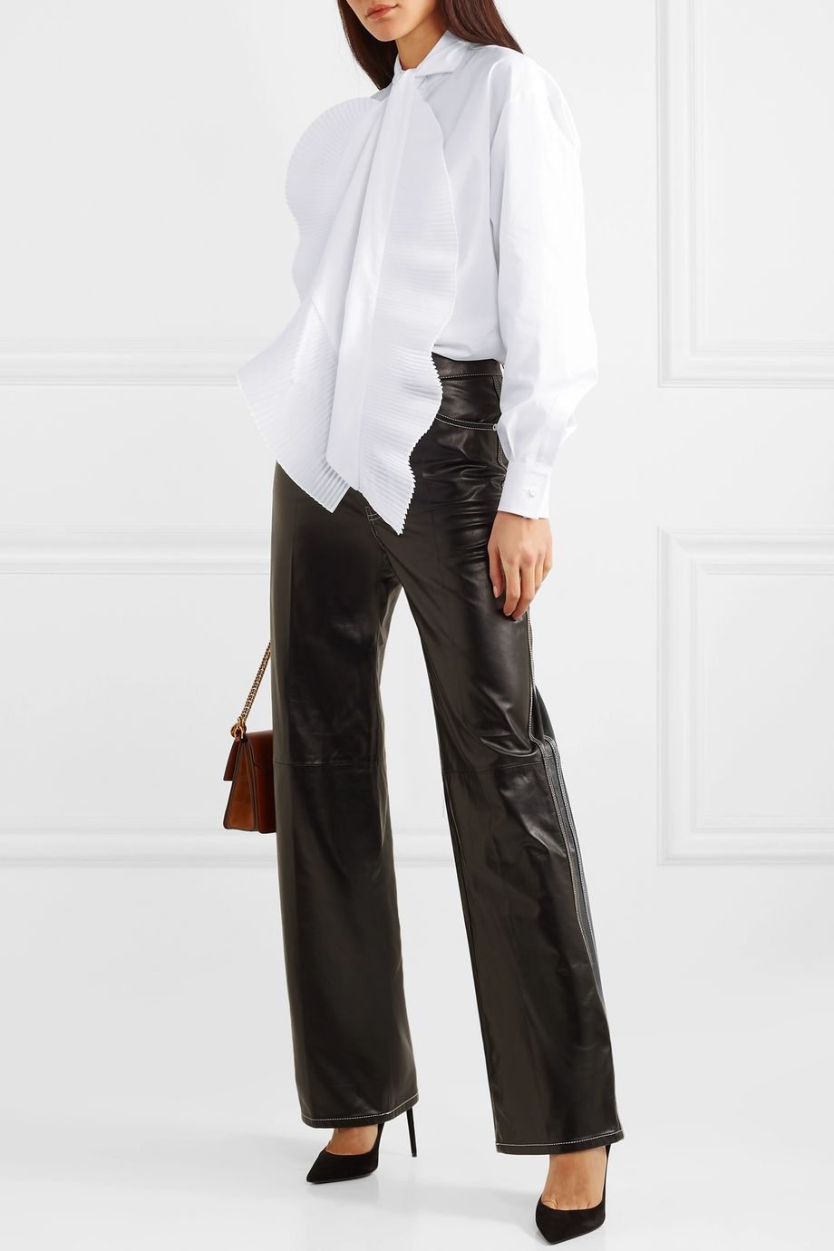 Givenchy Pleated tie-neck cotton-poplin shirt