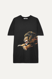 Givenchy Leo oversized embroidered printed cotton-jersey T-shirt