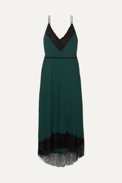 Grand Rapids Lace Trimmed Pleated Crepe Maxi Dress