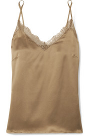 Lace-trimmed silk camisole