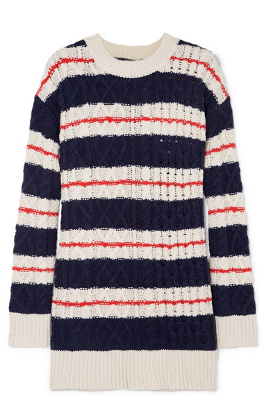 Gabby Striped Cable-Knit Merino Wool-Blend Sweater in Navy