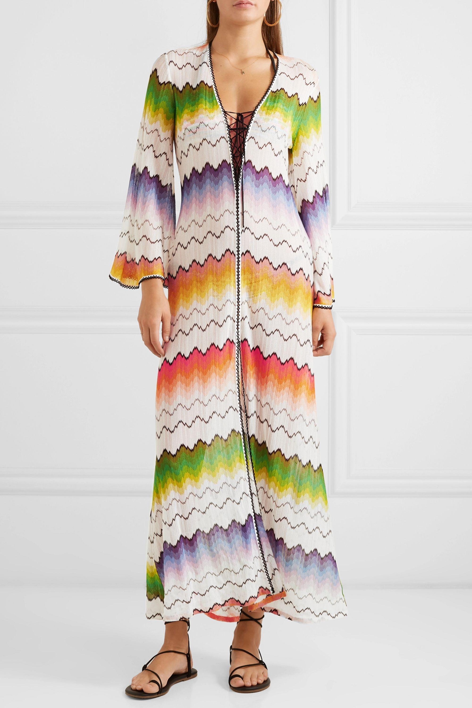 Missoni Mare lace-up crochet-knit kaftan