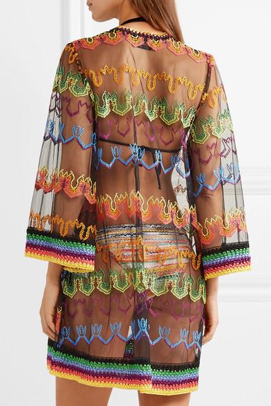 c75c9629b2655 Missoni | Mare lace-up embroidered mesh kaftan | NET-A-PORTER.COM