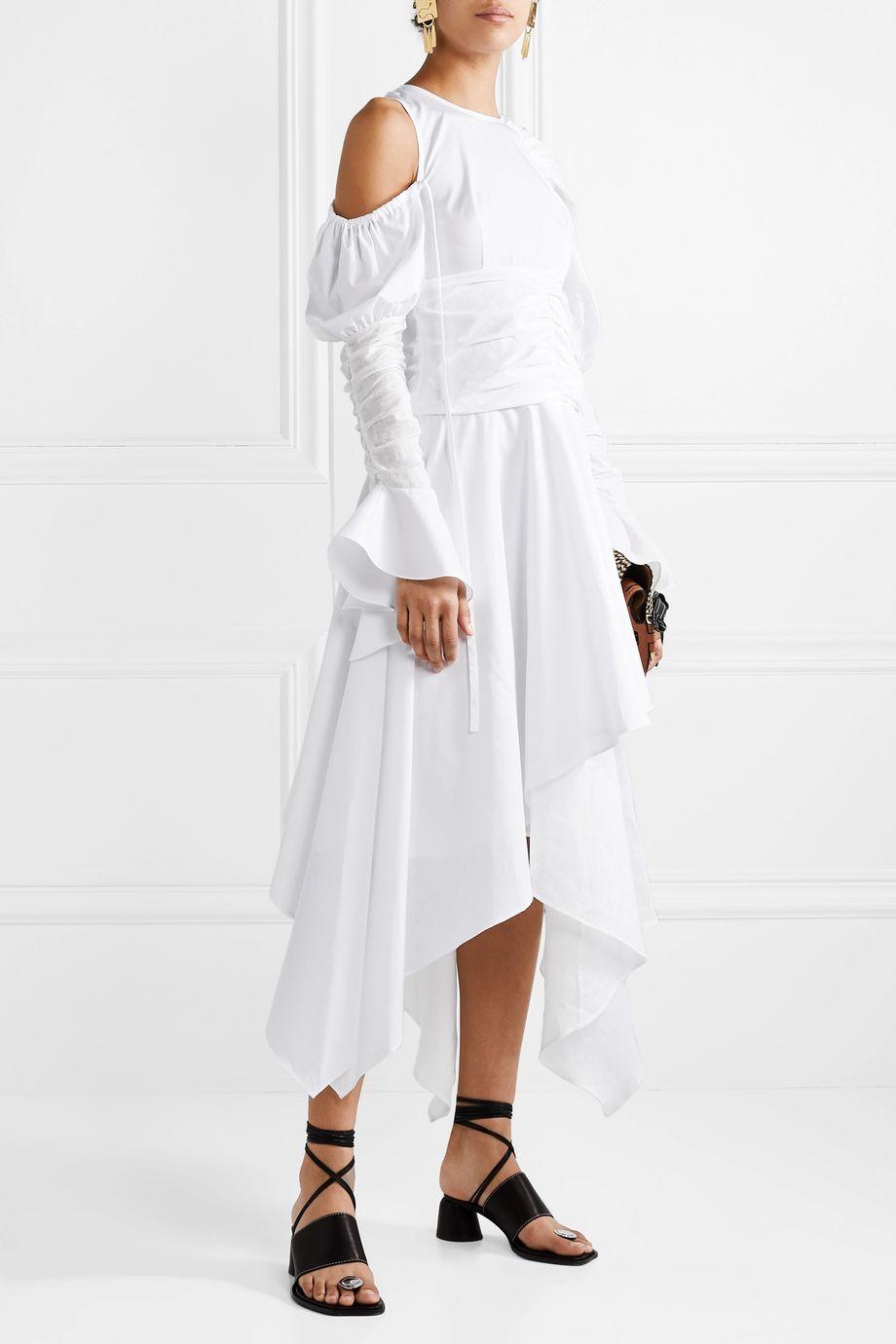 Loewe Cutout ruffled cotton and linen-blend maxi dress