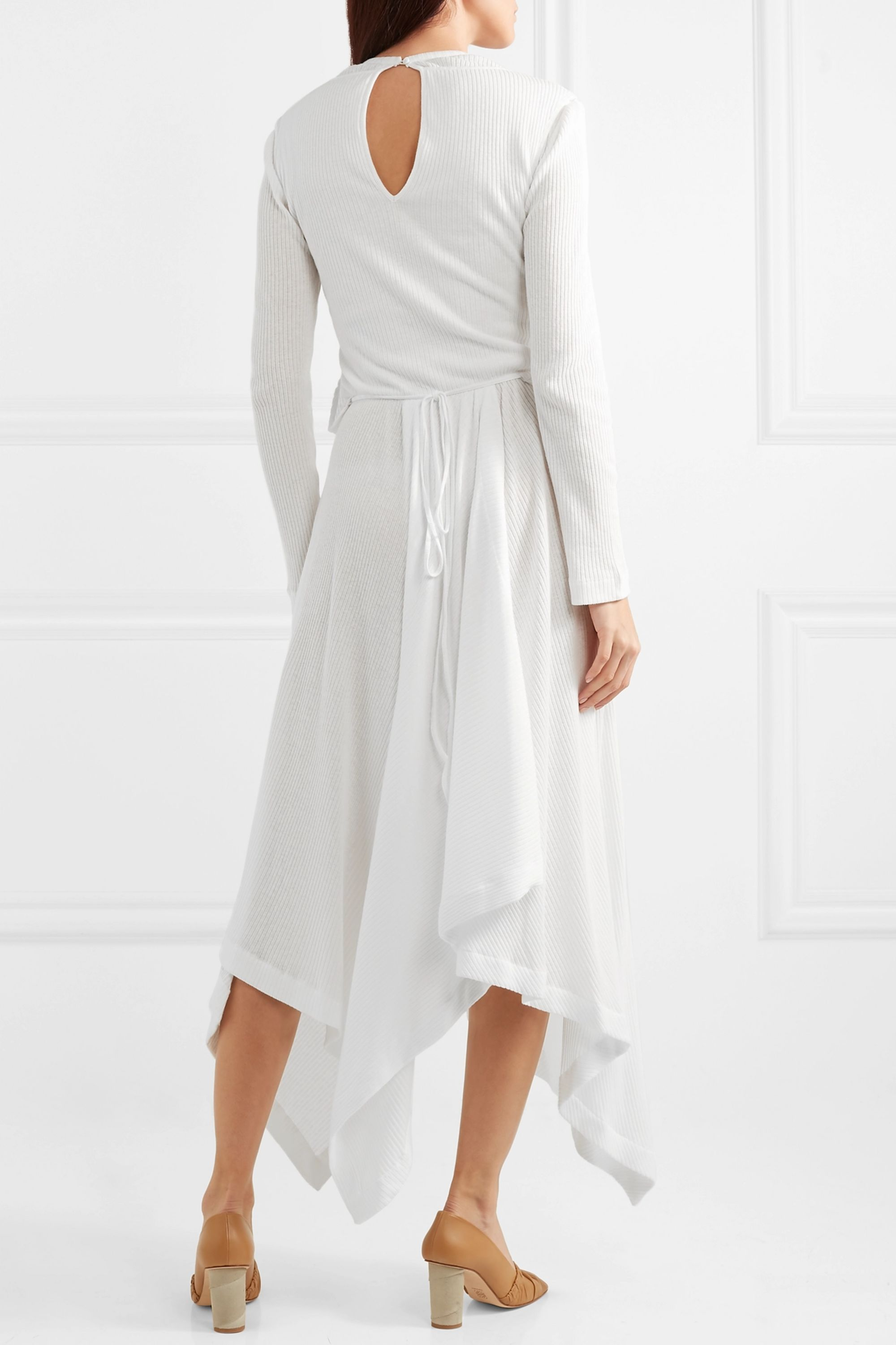 Loewe Asymmetric printed ribbed cotton-blend dress