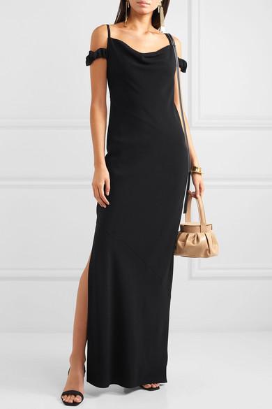 Loewe Dress Cold-shoulder leather-trimmed crepe maxi dress