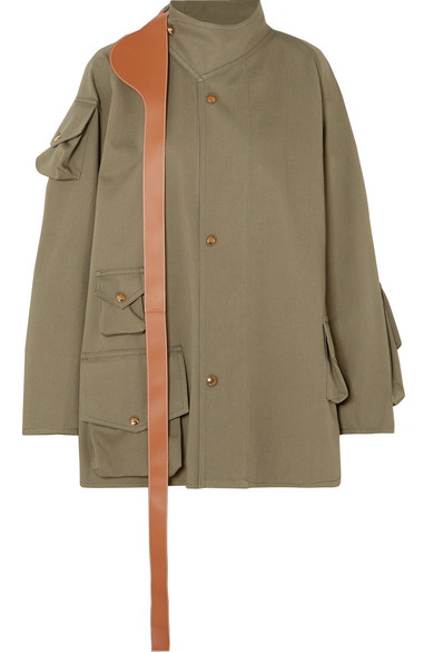 LOEWE | Loewe - Oversized Leather-trimmed Cotton Jacket - Army green | Goxip