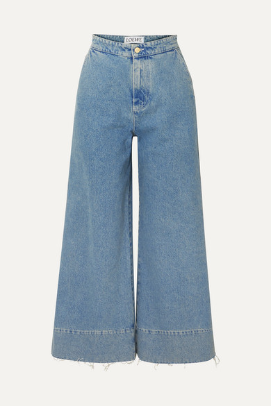 Frayed Cropped High-Rise Wide-Leg Jeans in Indigo