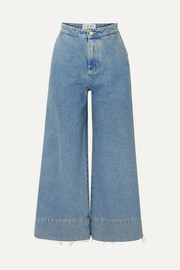 Loewe Frayed cropped high-rise wide-leg jeans