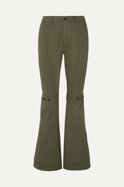 Button-detailed cotton-twill flared pants