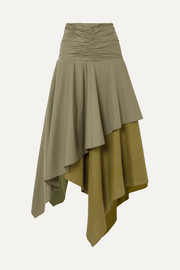 Loewe Asymmetric ruffled poplin and linen skirt