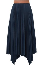 Loewe Asymmetric leather-trimmed pleated poplin midi skirt