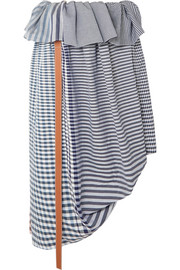 Loewe Asymmetric leather-trimmed checked cotton-jacquard midi skirt