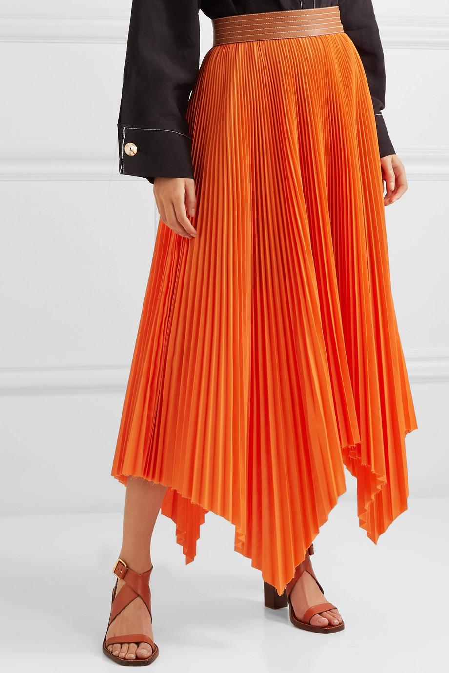 eef46e0fb35 Loewe Asymmetric leather-trimmed pleated poplin midi skirt