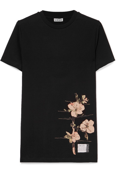 Black T-Shirt With Botanical Print