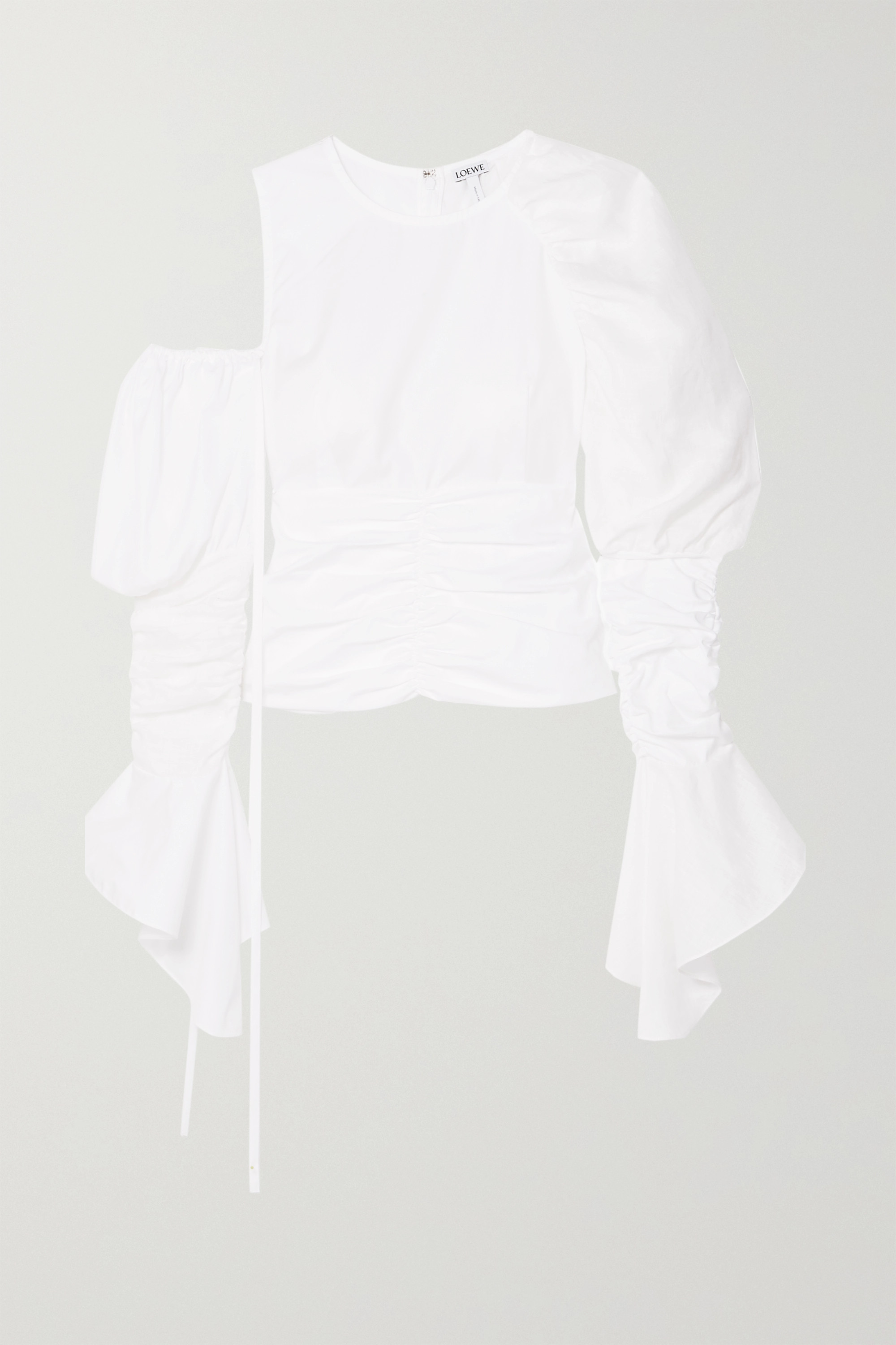 Loewe Cutout ruched cotton and linen top