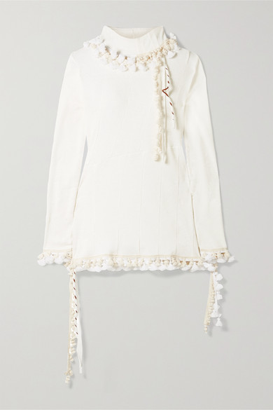 Loewe Tops Pompom-embellished ribbed cotton and linen-blend turtleneck top