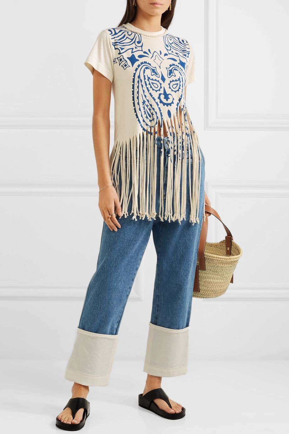Loewe Fringed printed cotton and silk-blend jersey T-shirt