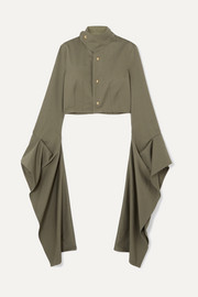 Loewe Cropped draped cotton-twill blouse