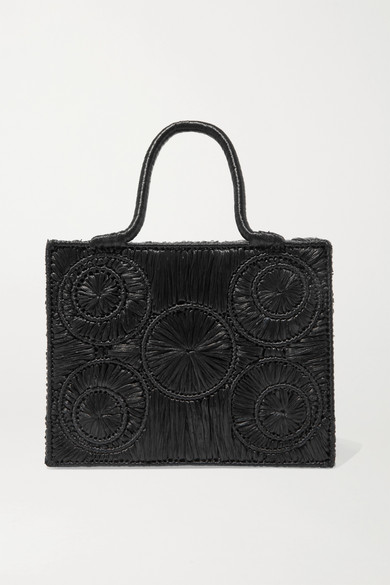 SOPHIE ANDERSON Caba Leather-Trimmed Raffia Tote in Black