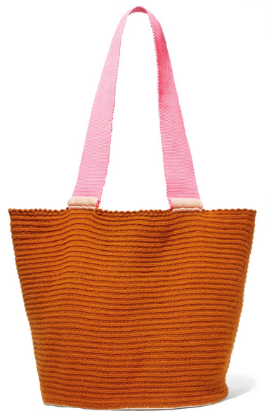 SOPHIE ANDERSON Jonas Color-Block Woven Tote in Orange