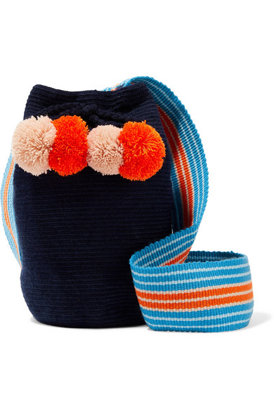 SOPHIE ANDERSON Lulu Pompom-Embellished Woven Bucket Bag in Midnight Blue