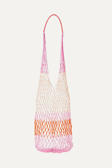 SOPHIE ANDERSON Malla Striped Macramé Shoulder Bag in Pink