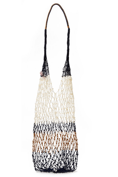 SOPHIE ANDERSON Malla Striped Macramé Shoulder Bag in Navy