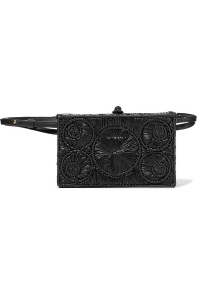 SOPHIE ANDERSON Mia Leather-Trimmed Raffia Belt Bag in Black
