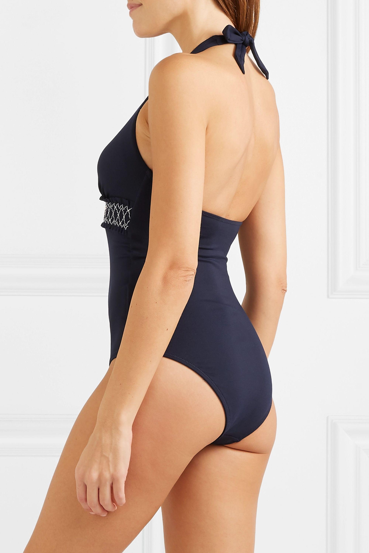 Heidi Klein Smocked halterneck swimsuit