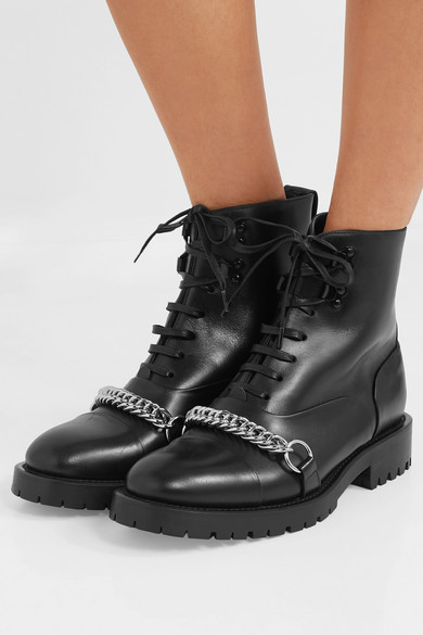 8a15671c77a Burberry | Barke chain-trimmed leather ankle boots | NET-A-PORTER.COM