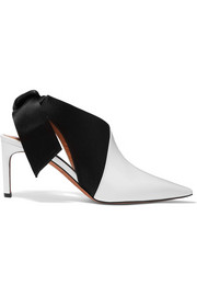 Patent-leather and satin slingback mules