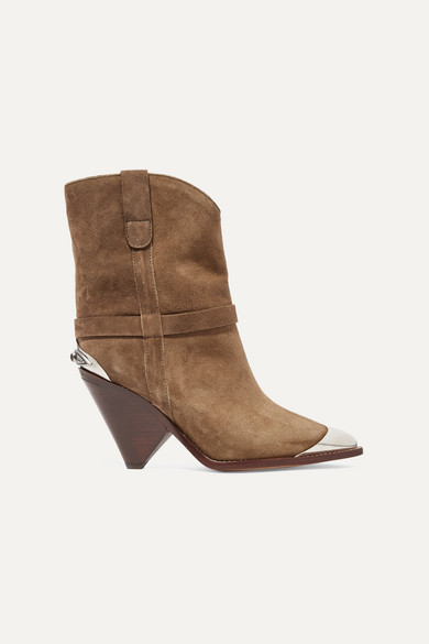 ISABEL MARANT Lamsy Embellished Suede Ankle Boots in Taupe