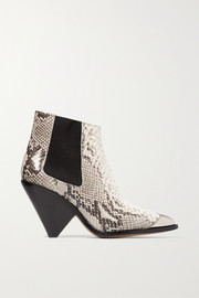 Lemsey metal-trimmed snake-effect leather ankle boots