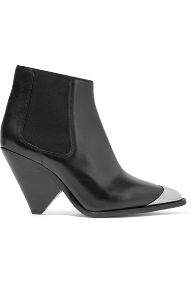 Lemsey Metal-Trimmed Leather Ankle Boots in Black