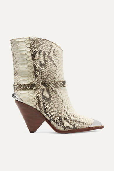 Lamsy Embellished Snake-Effect Leather Ankle Boots in Snake Print
