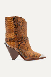 Lamsy embellished snake-effect leather ankle boots