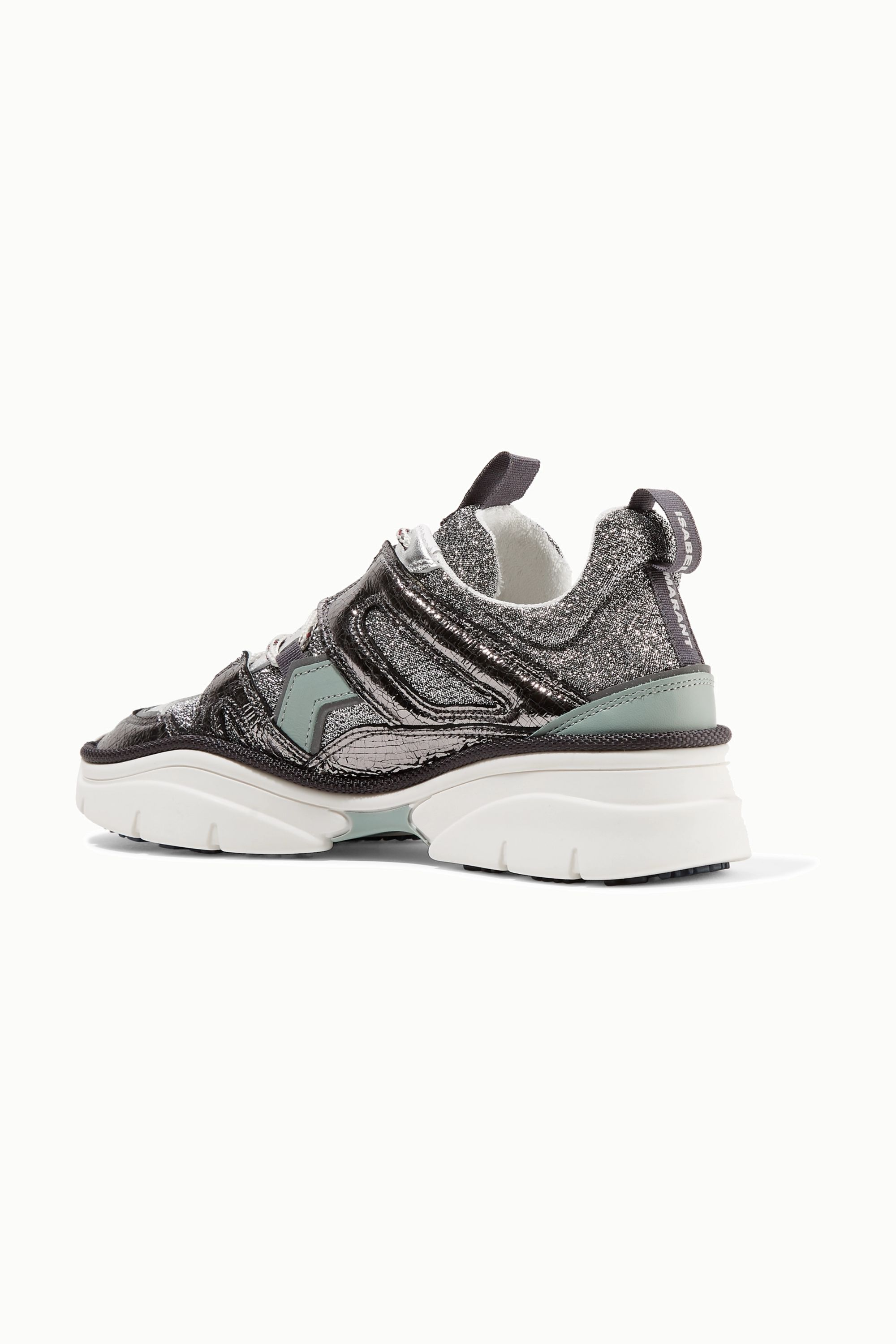 Isabel Marant Kindsay logo-print metallic, glittered and smooth leather sneakers