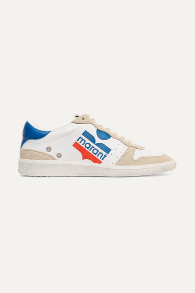 Bulian Logo-Print Suede-Trimmed Leather Sneakers in White