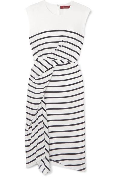 Anita Asymmetric Striped Silk-Crepe Dress in White
