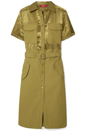 Sies Marjan Mila belted washed satin-paneled cotton-poplin dress
